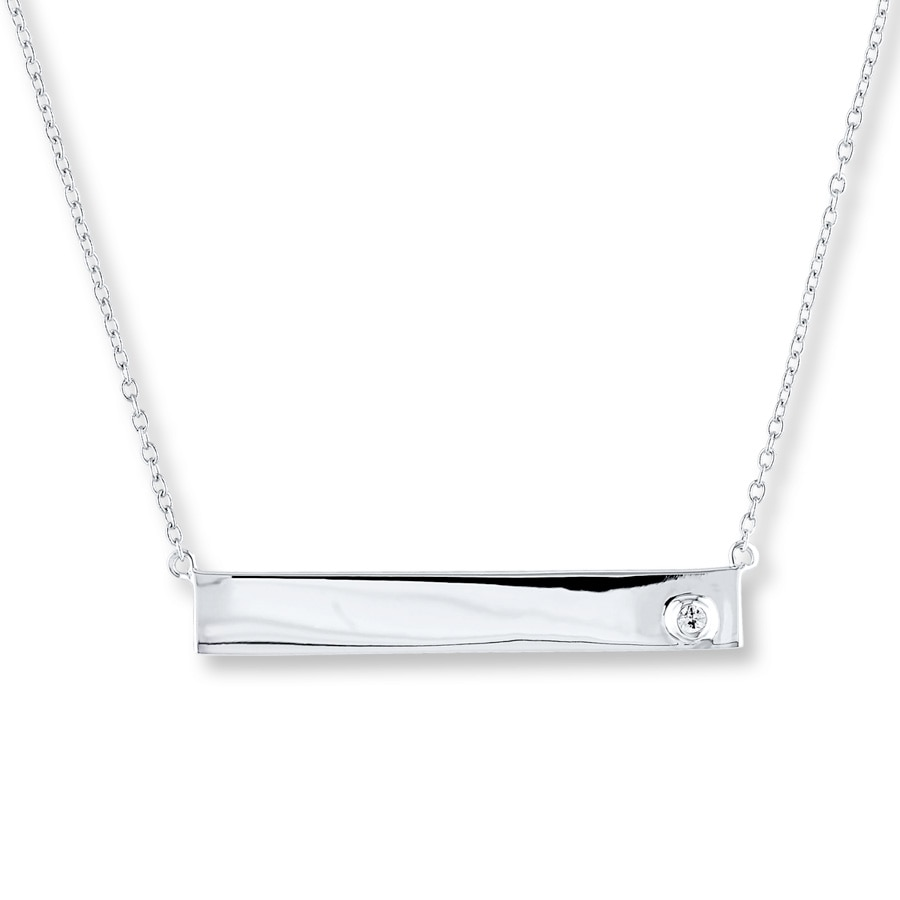 Bar Necklace Natural White Sapphire Sterling Silver