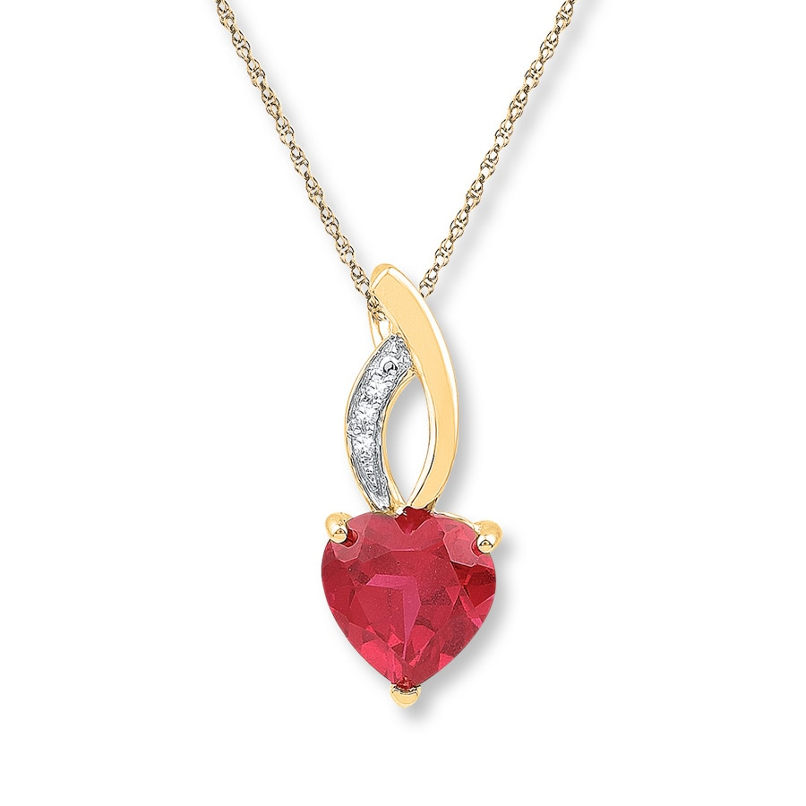 Heart Shaped Lab Created Ruby Necklace 10k Yellow Gold