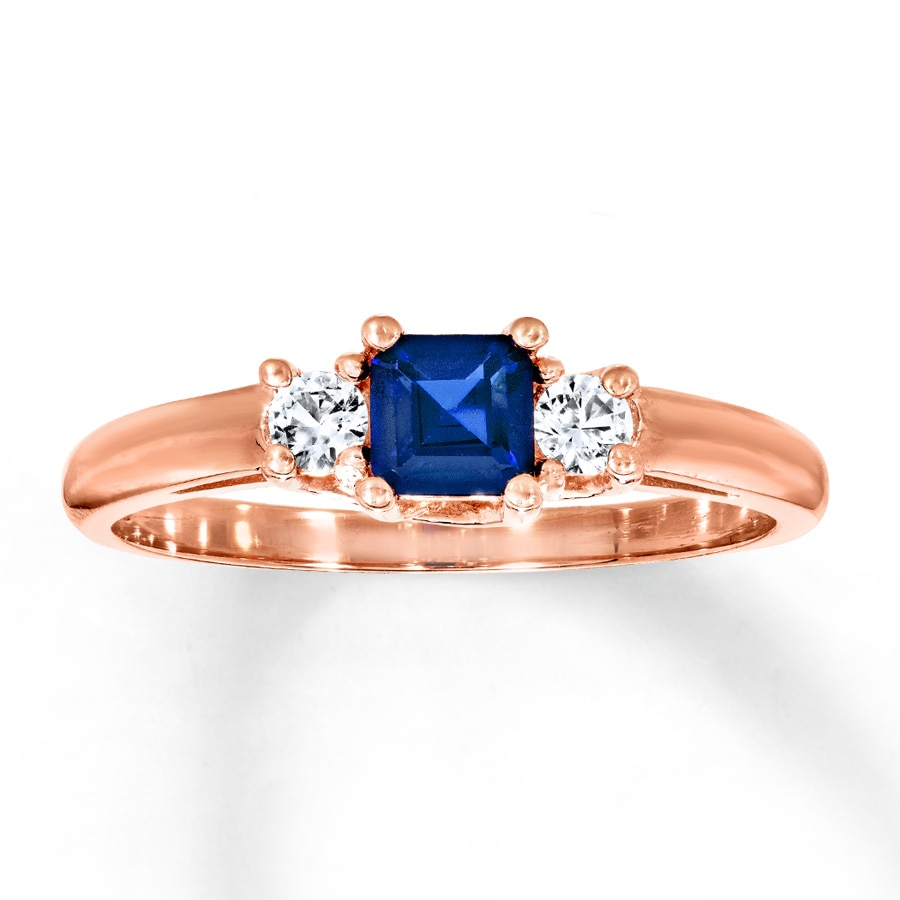 Lab-Created Sapphire Ring 10K Rose Gold