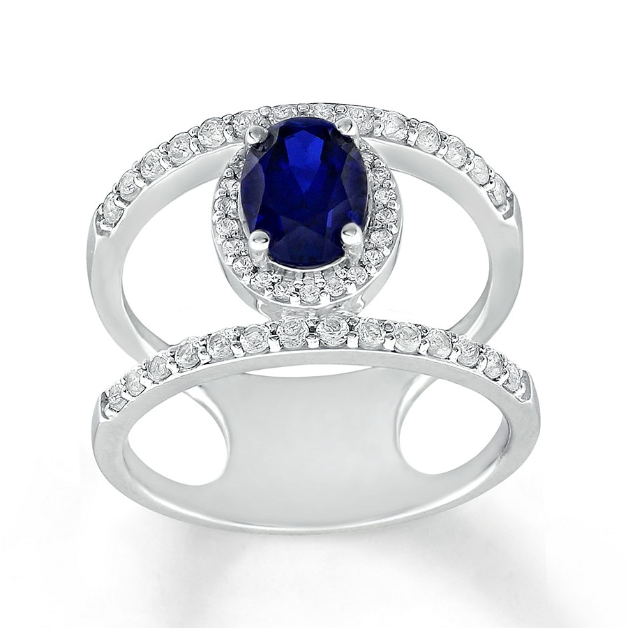 lab created blue white sapphire ring sterling silver