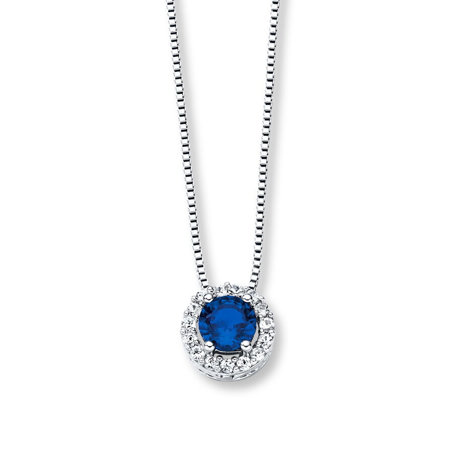 60a5d3580 Lab-Created Blue & White Sapphire Necklace Sterling Silver ...