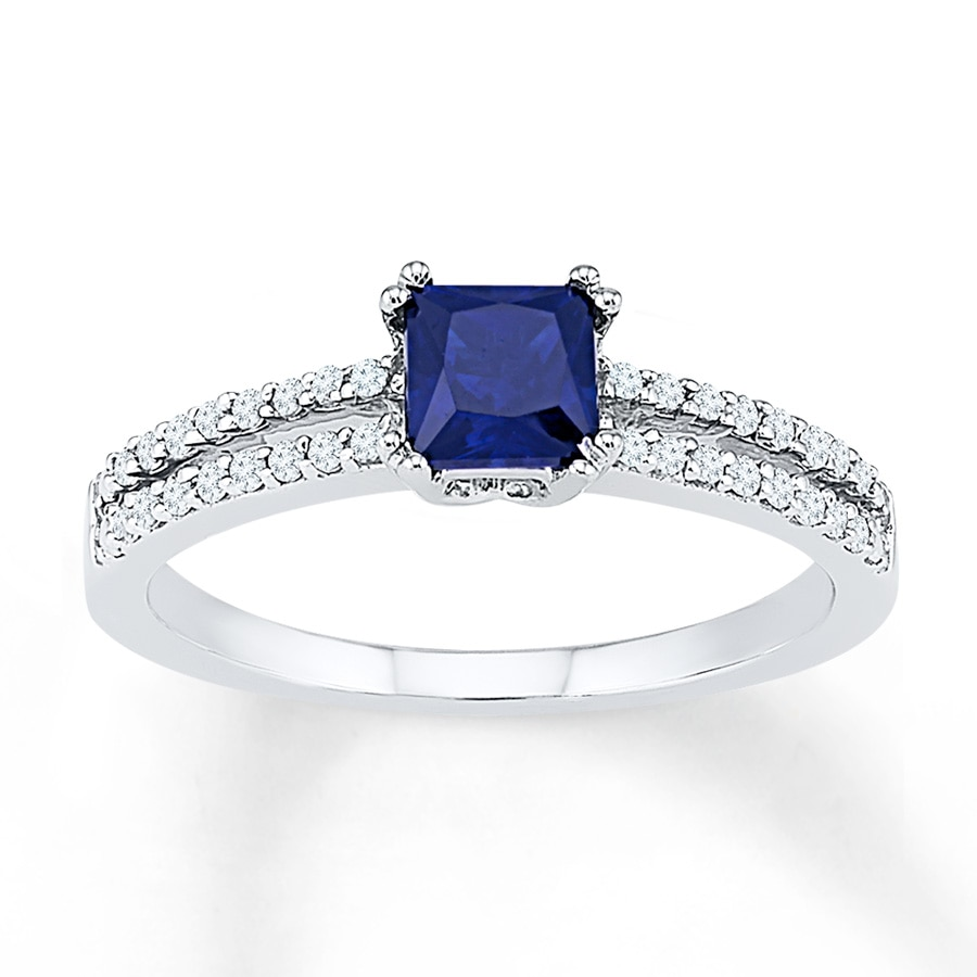 Lab-Created Sapphire 1/6 ct tw Diamonds 10K White Gold Ring
