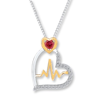 Heart Necklace Lab-Created Gemstones Sterling Silver/10K Gold