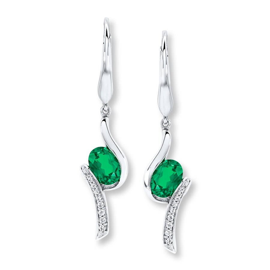 Lab Created Emerald Earrings In Sterling Silver