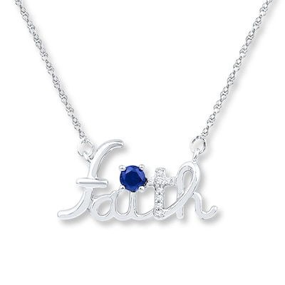 Faith Necklace Lab-Created Sapphire Sterling Silver
