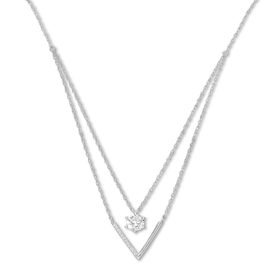 Layered Necklace Lab Created White Sapphires Sterling Silver