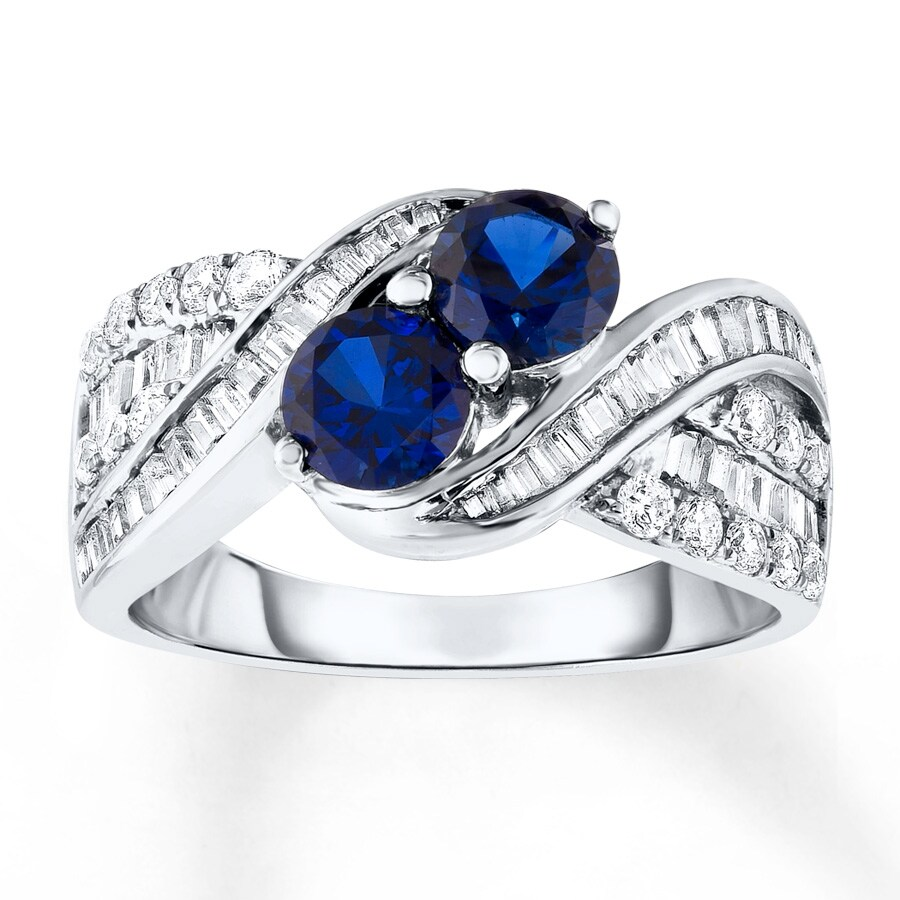 blue white lab created sapphire ring 10k white gold
