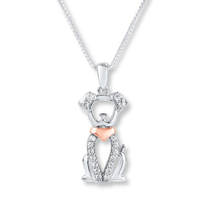 Dog Necklace Lab-Created Sapphire Sterling Silver/10K Rose Gold