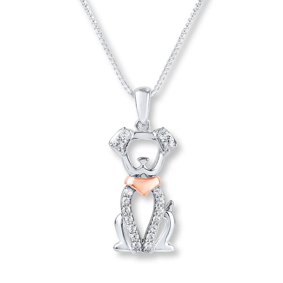 0d4083574e Dog Necklace Lab-Created Sapphire Sterling Silver/10K Rose Gold. Tap to  expand