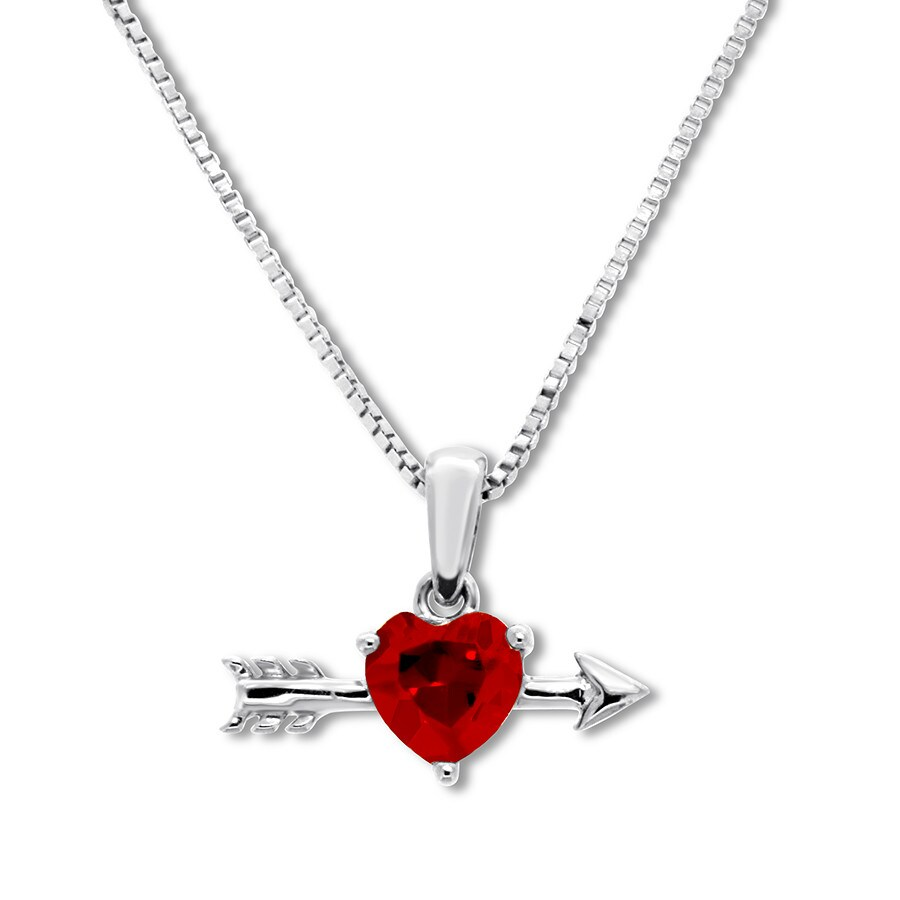 74740611fc4a5 Petite Lab-Created Ruby Arrow Necklace Sterling Silver - 134612605 - Kay