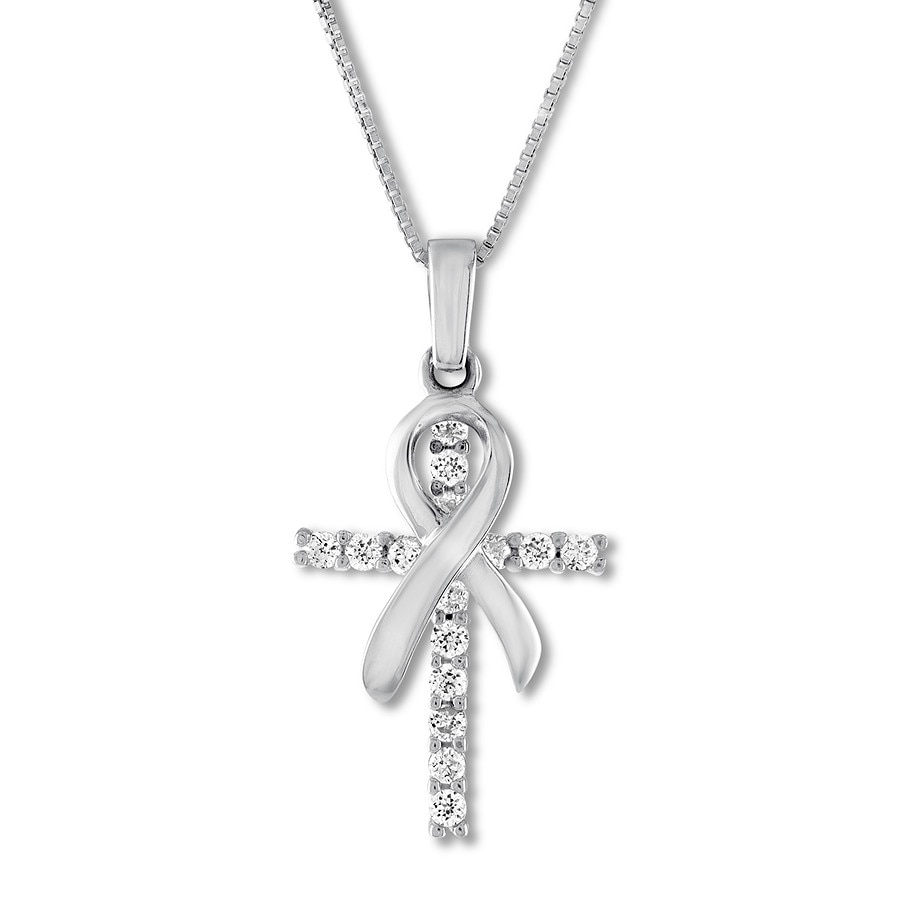 878c9b406689 Cross Ribbon Necklace Lab-Created Sapphires Sterling Silver. Tap to expand