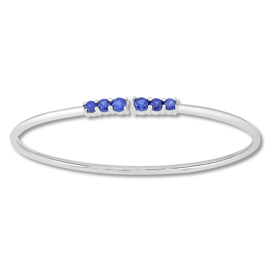 835b782ee Lab-Created Sapphire Flex Bangle Sterling Silver - 134811102 - Kay