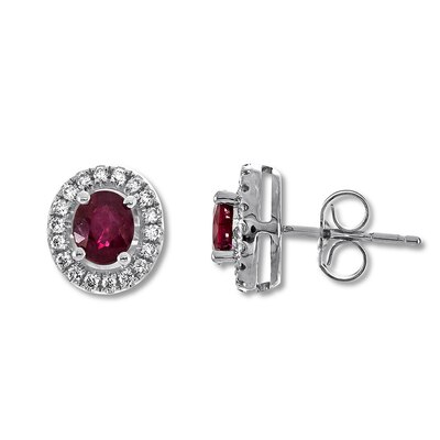 Natural Ruby Earrings 1/6 ct tw Diamonds 10K White Gold