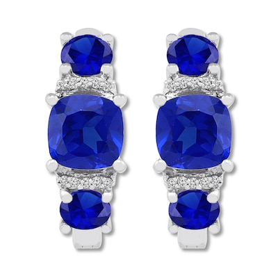 Lab-Created Sapphire & Diamond Hoop Earrings Sterling Silver