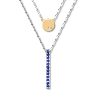 Lab-Created Sapphire Layered Necklace Sterling Silver/10K Gold