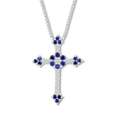 Blue/White Lab-Created Sapphire Cross Necklace Sterling Silver