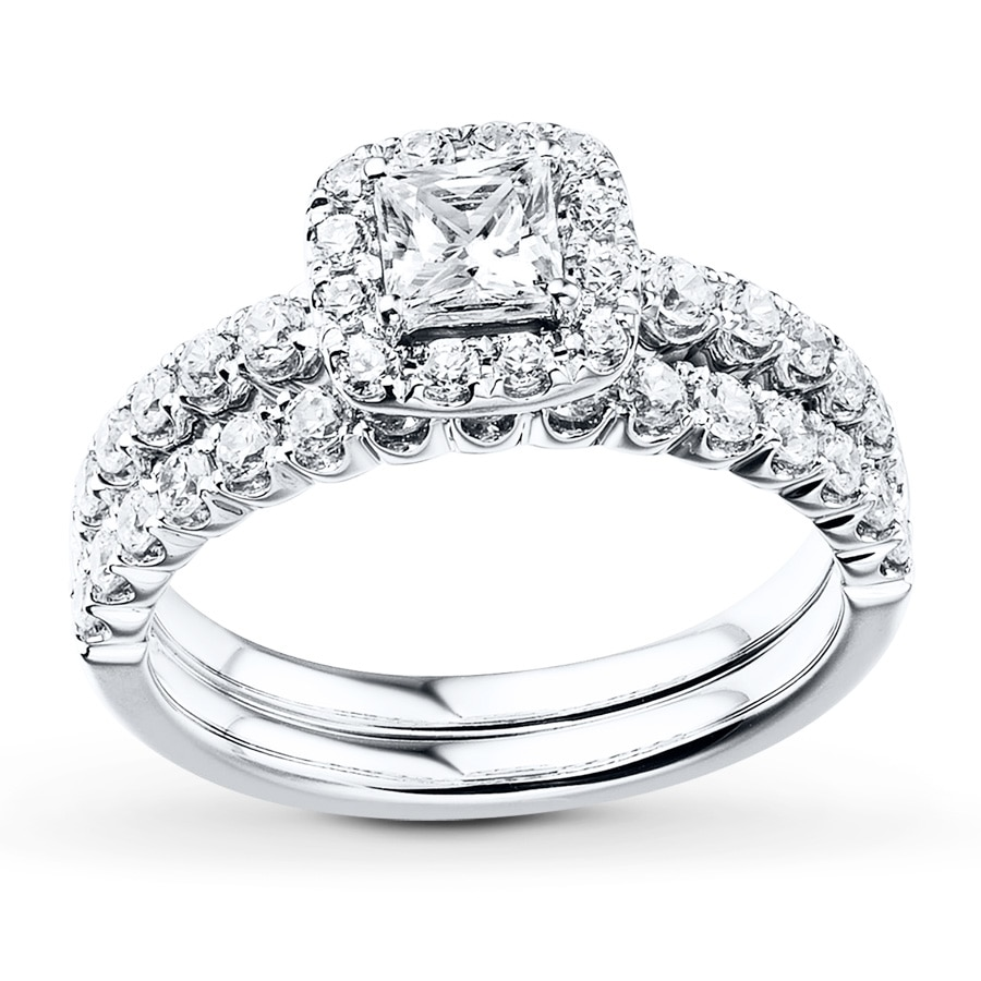 Diamond Bridal Set 1-1/4 Ct Tw Princess/Round 14K White
