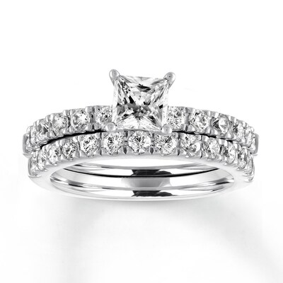 Diamond Bridal Set 1-5/8 ct tw Princess/Round 14K White Gold