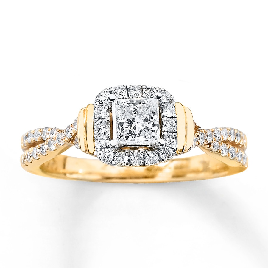Diamond Engagement Ring 3/4 Ct Tw Princess/Round 14K Gold
