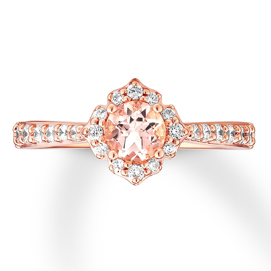 morganite  Morganite Engagement Ring 1/3 ct tw Diamonds 14K Rose Gold ...