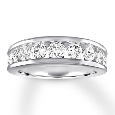 Diamond Wedding Band 1-1/2 ct tw Round-cut 14K White Gold