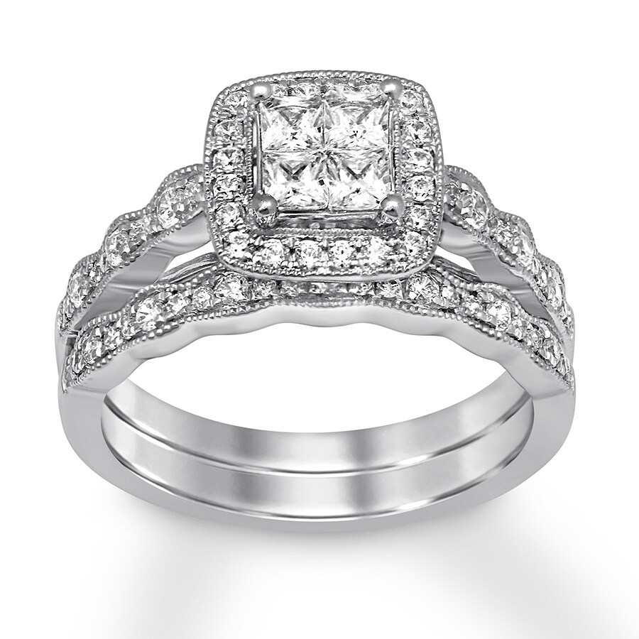 Diamond Bridal Set 3/4 Ct Tw Princess/Round 14K White Gold