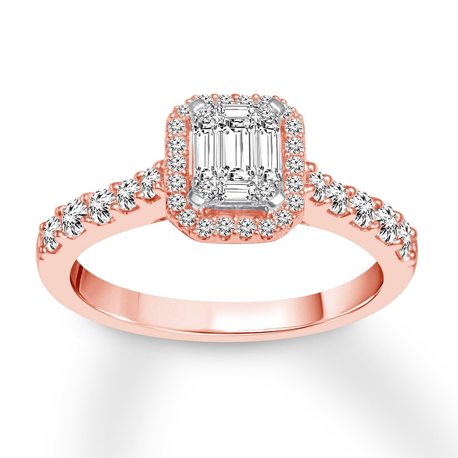 Diamond Engagement Ring 3/4 Ct Tw Round/Baguette 14K Rose