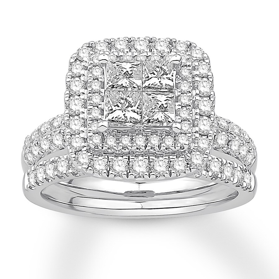 Diamond Bridal Set 2 Ct Tw Princess/Round 14K White Gold