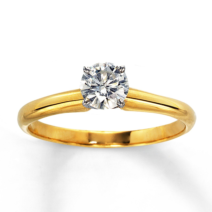 Diamond Solitaire Ring 1 2 Carat Round Cut 14k Yellow Gold