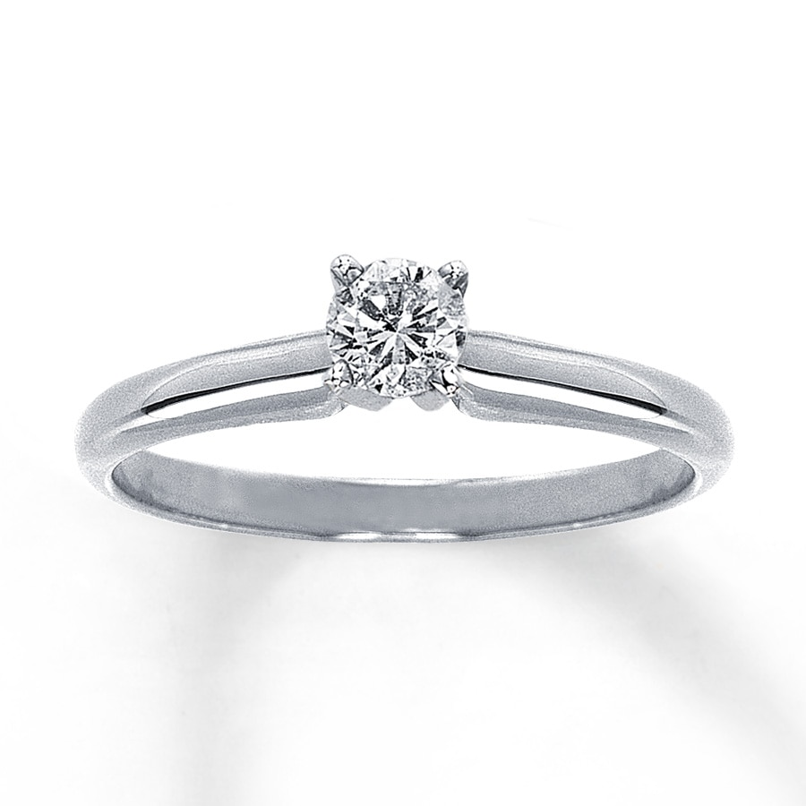 Diamond Solitaire Ring 1/4 Carat Round-cut 14K White Gold