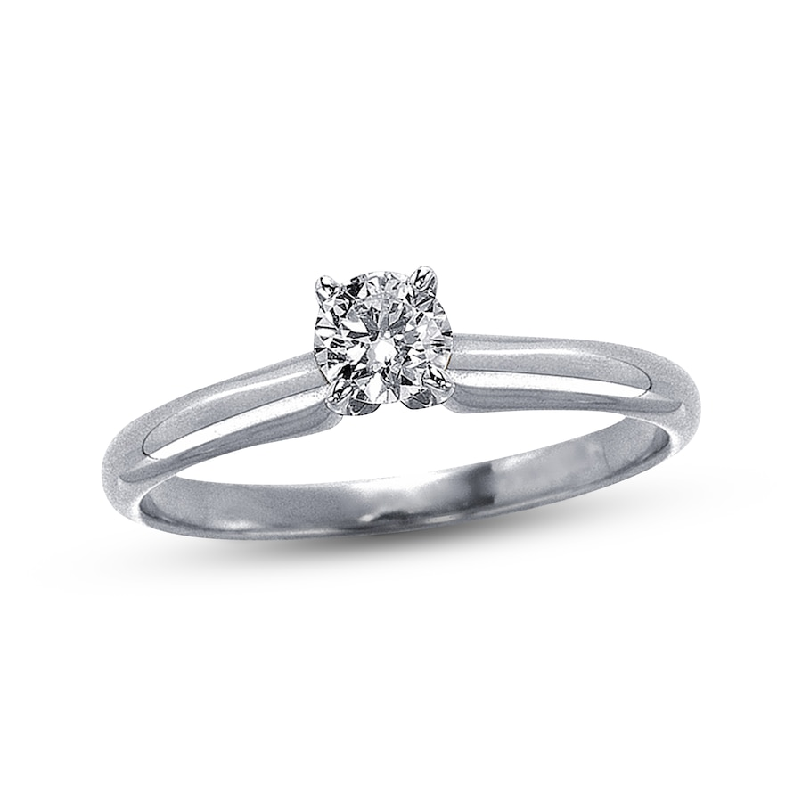 Diamond Solitaire Ring 1 3 Carat Round Cut 14k White Gold