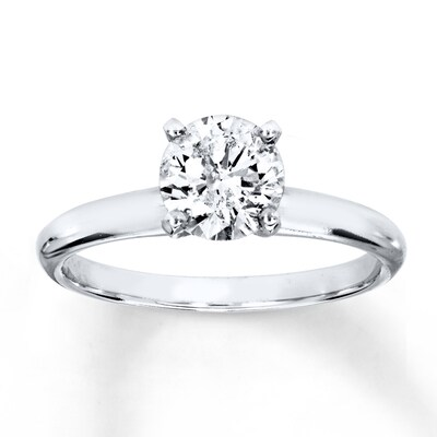 Diamond Solitaire Ring 1 Carat Round-cut 14K White Gold Kay Jewelers