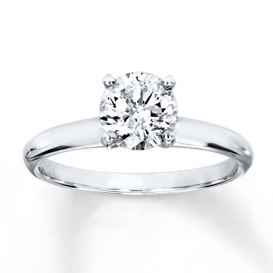 diamond solitaire ring 1 carat round cut 14k white gold 150866806 kay. Black Bedroom Furniture Sets. Home Design Ideas