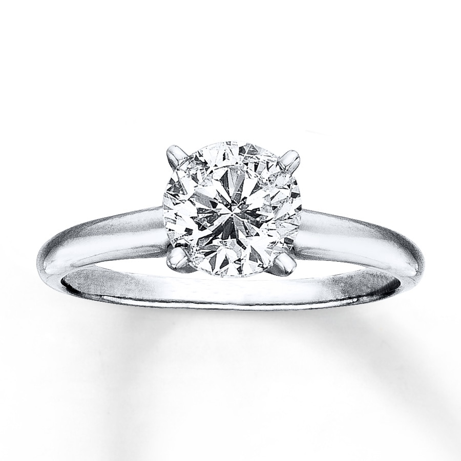 Certified Diamond Round-Cut Ring 1-1 2 carats 14K White Gold ... e307c1bddacb