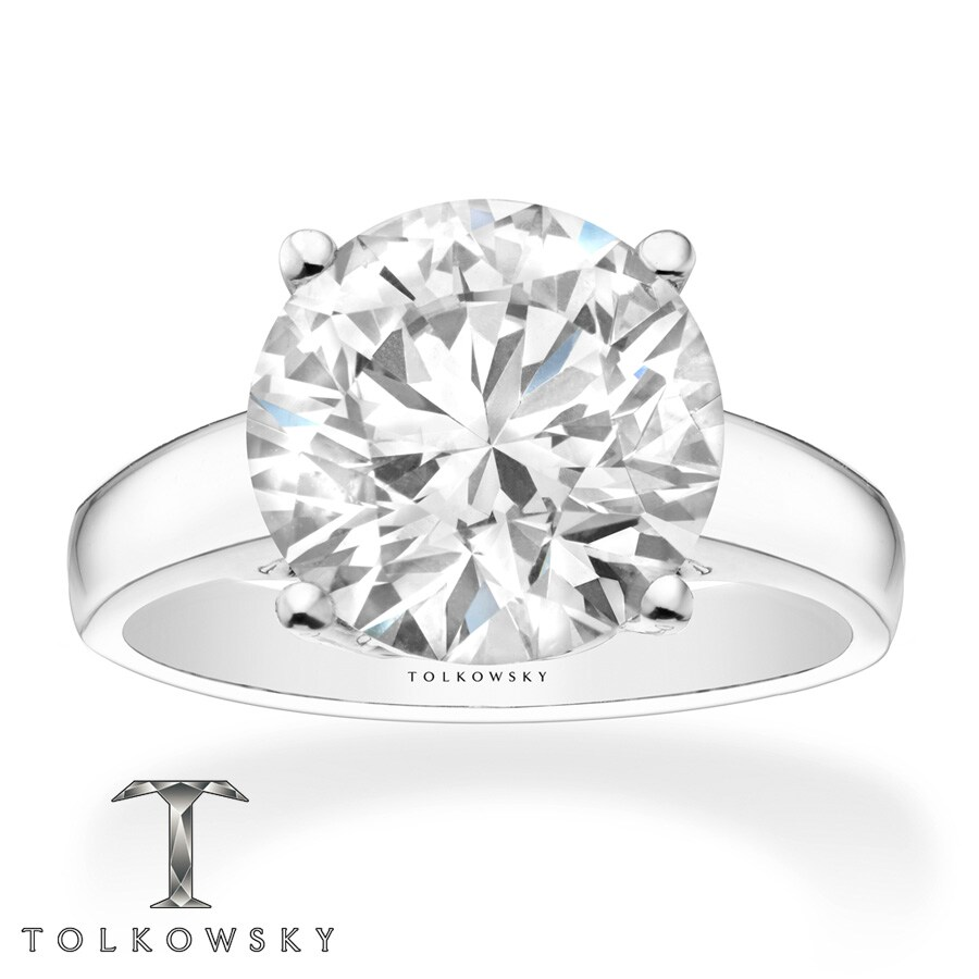 Kay Tolkowsky Diamond 4 Carat Solitaire Ring 14K White Gold