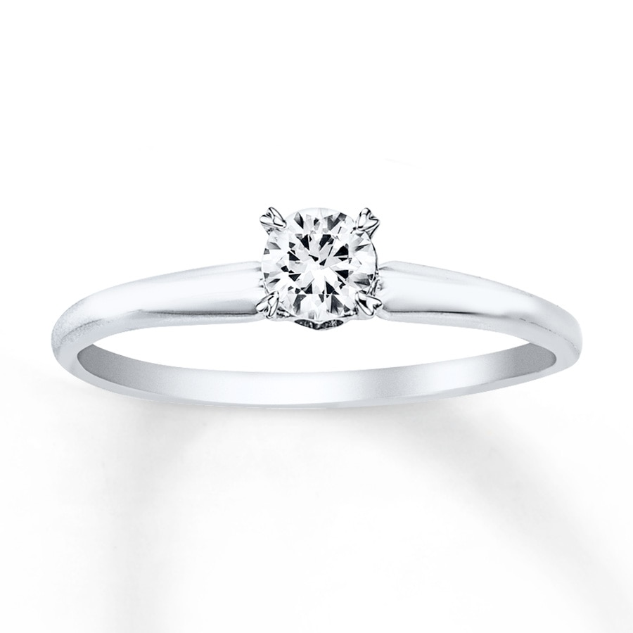 solitaire engagement ring 1 4 carat diamond 14k white gold. Black Bedroom Furniture Sets. Home Design Ideas