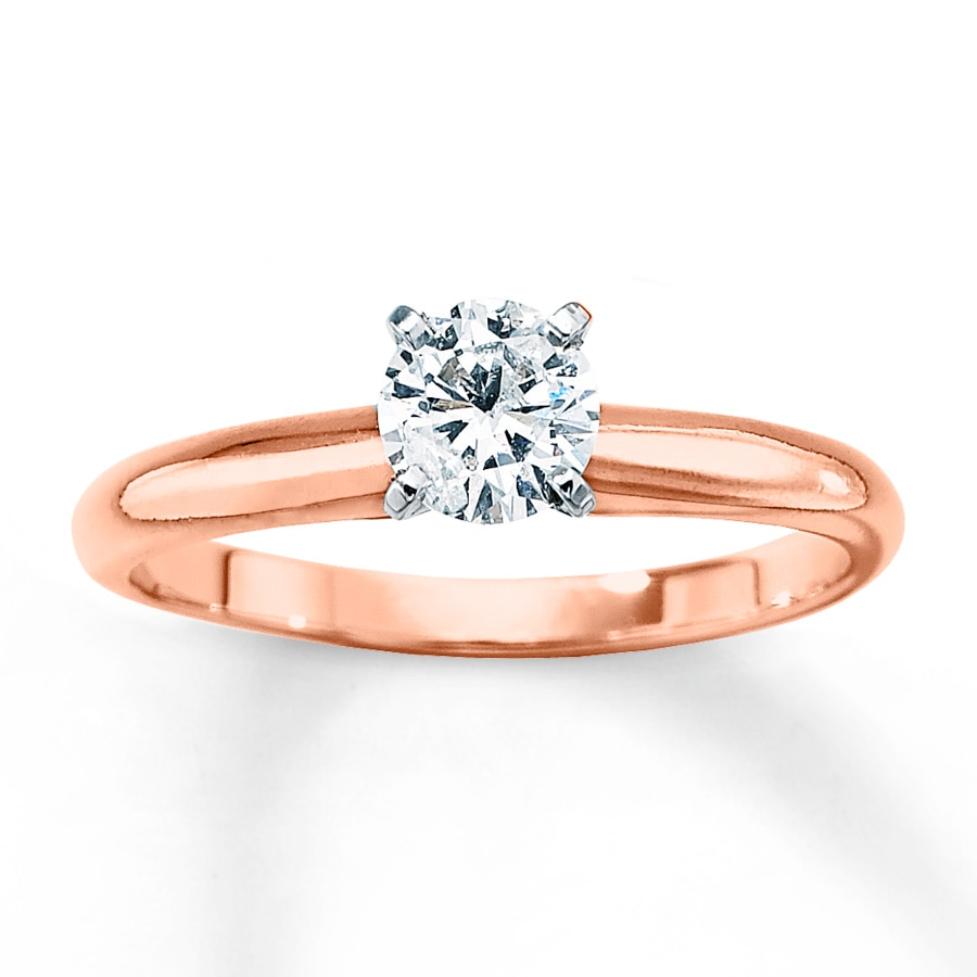 Rose Gold Wedding Ring.Solitaire Engagement Ring 1 2 Carat Diamond 14k Rose Gold