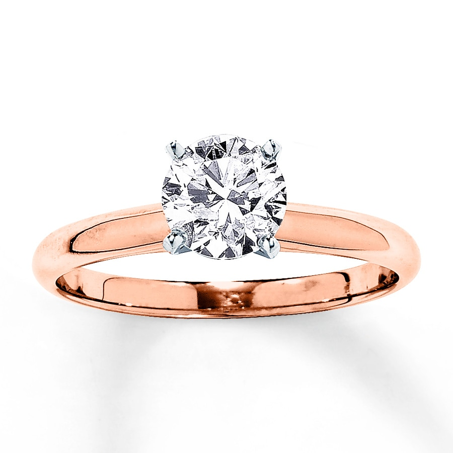 Rose Gold Wedding Ring.Solitaire Engagement Ring 1 Carat Diamond 14k Rose Gold