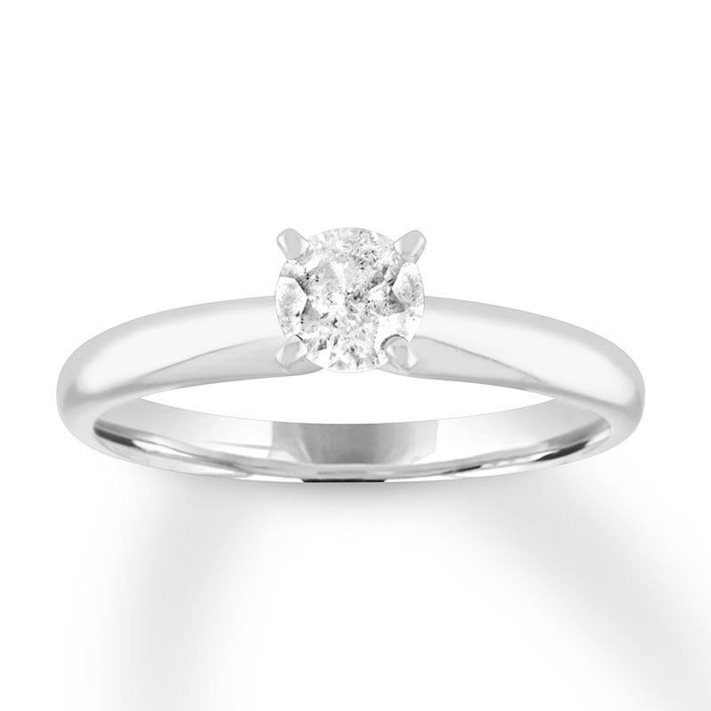 Diamond Solitaire Engagement Ring 1 2 Carat 10k White Gold Kay