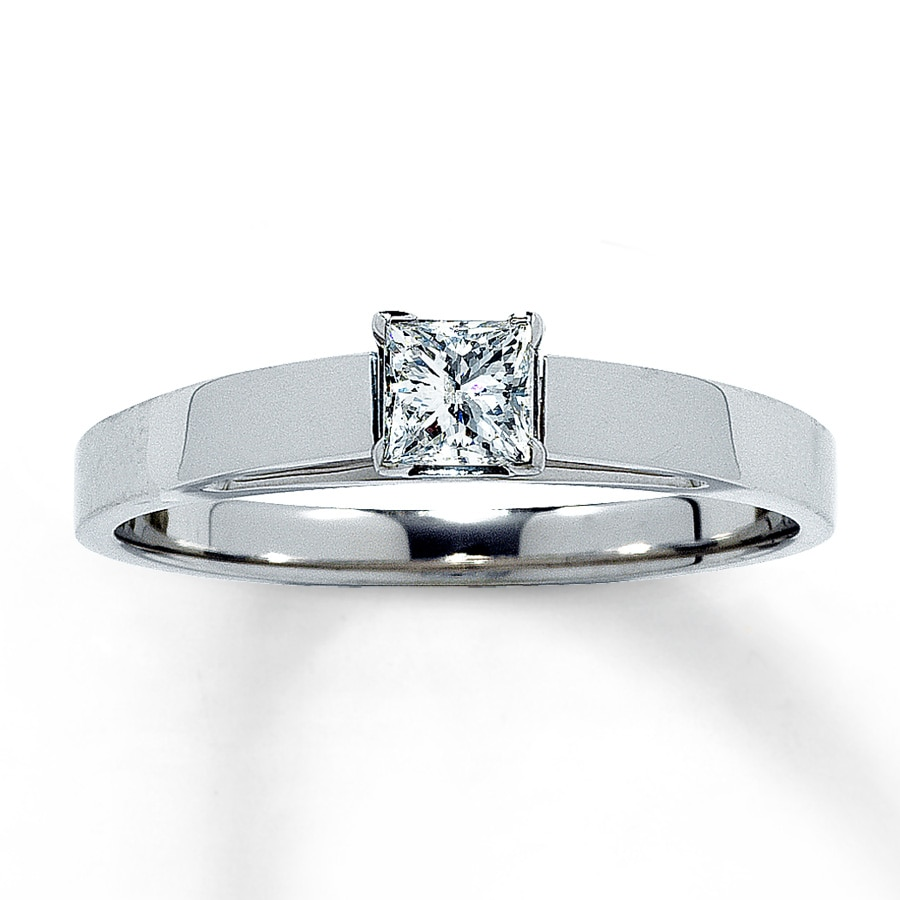 Email Diamond Solitaire Ring 14 carat Princess-Cut 14K White Gold