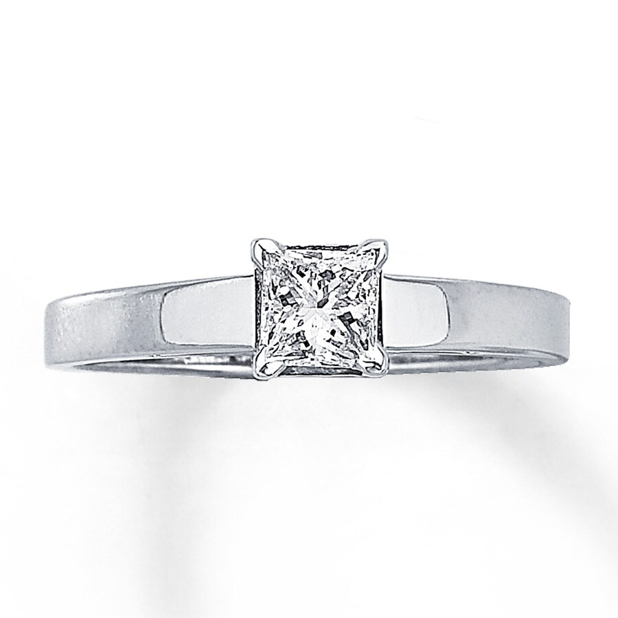 Kay Diamond Solitaire Ring 1 2 carat Princess Cut 14K White Gold