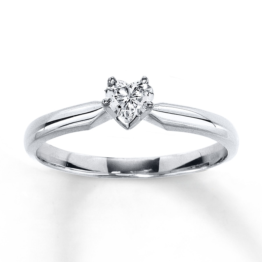 Kay Diamond Solitaire Ring 1 4 carat Heart shaped 14K White Gold