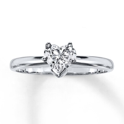 Diamond Solitaire Ring 1/2 carat Heart-shaped 14K White Gold Kay Jewelers