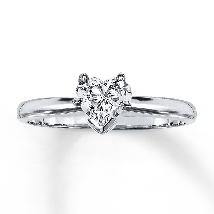 kay diamond solitaire ring 1 2 carat heart shaped 14k