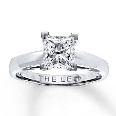Leo Diamond Solitaire 1-1/2 ct Princess-cut 14K White Gold Ring The Leo Diamond