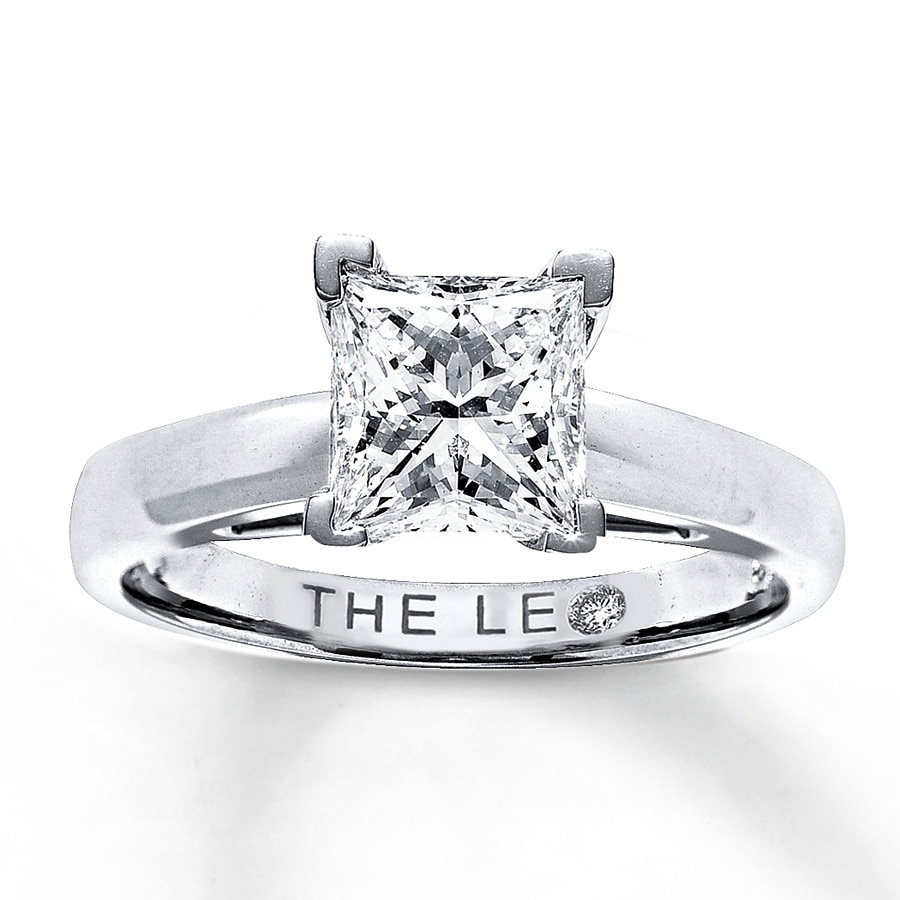 Kay Leo Diamond 2 Carat Princess cut Solitaire 14K White Gold Ring