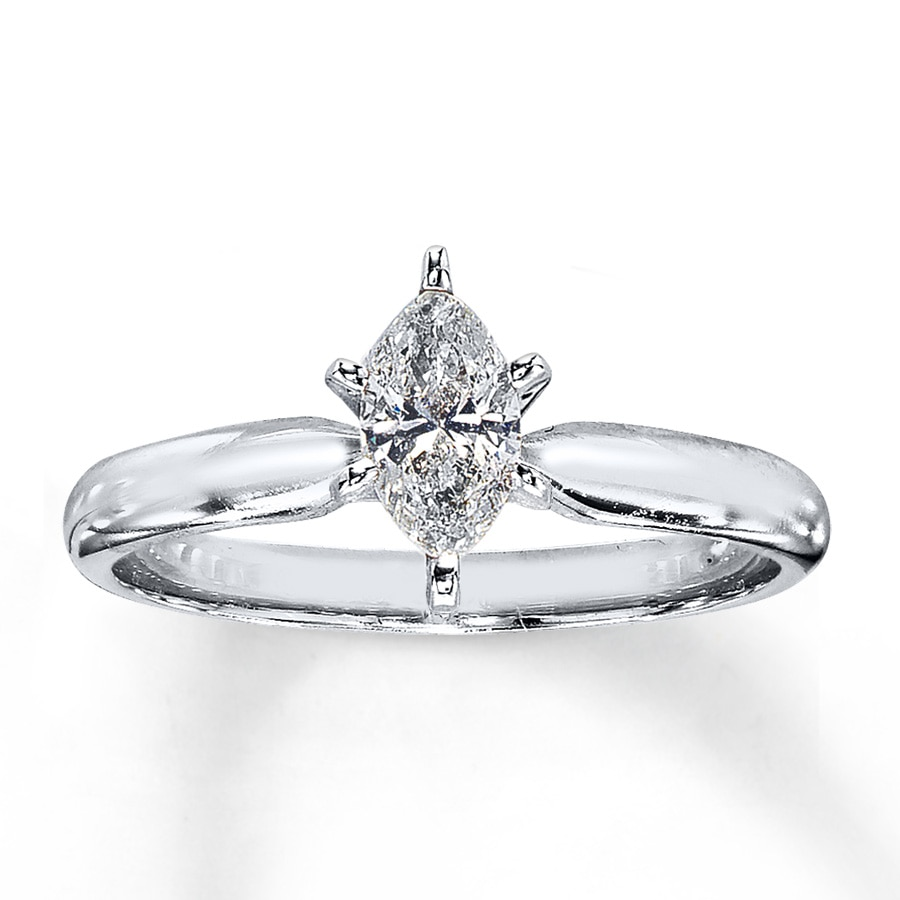 Diamond Solitaire Ring 1 2 carat Marquise 14K White Gold - 161233301 ... 3c4427c84657