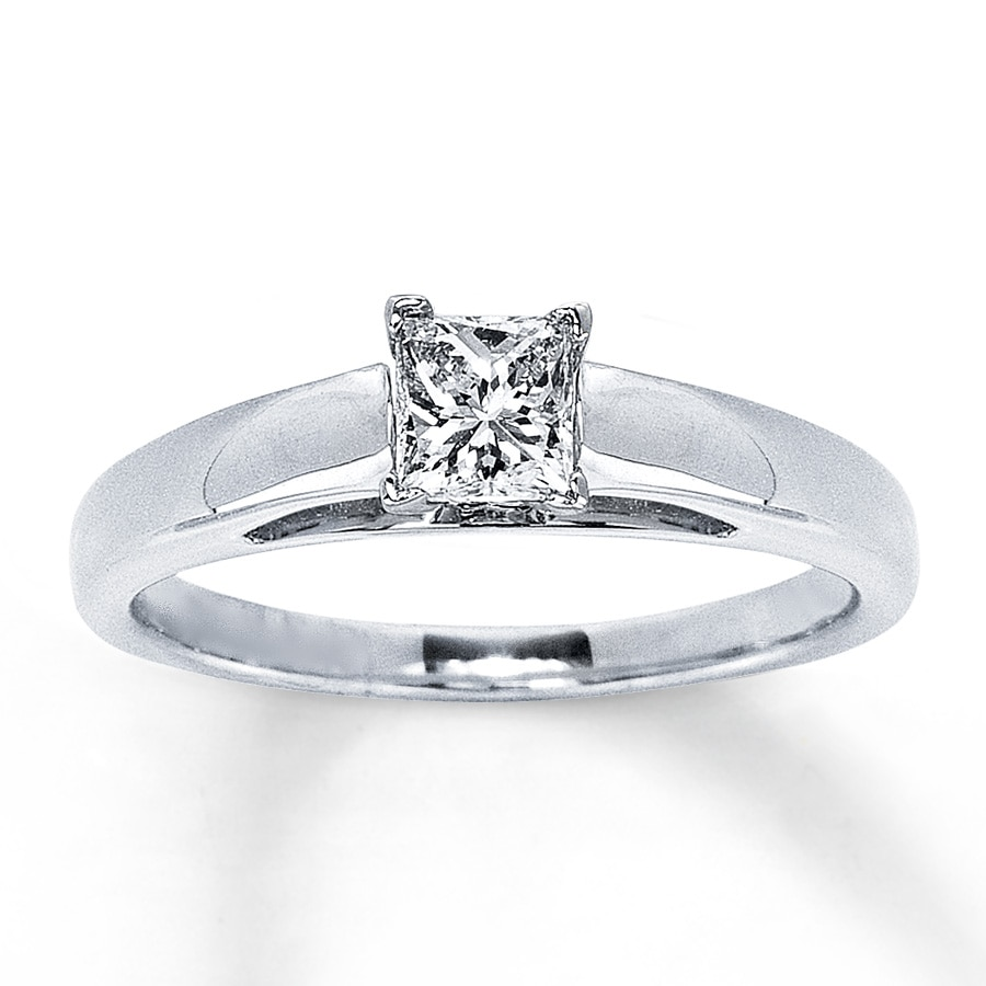 Email Certified Diamond Ring 12 carat Princess-cut 14K White Gold