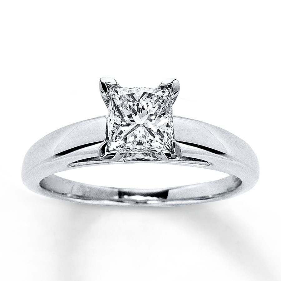 f0364cbba Certified Diamond Ring 1 carat Princess-cut 14K White Gold. Tap to expand