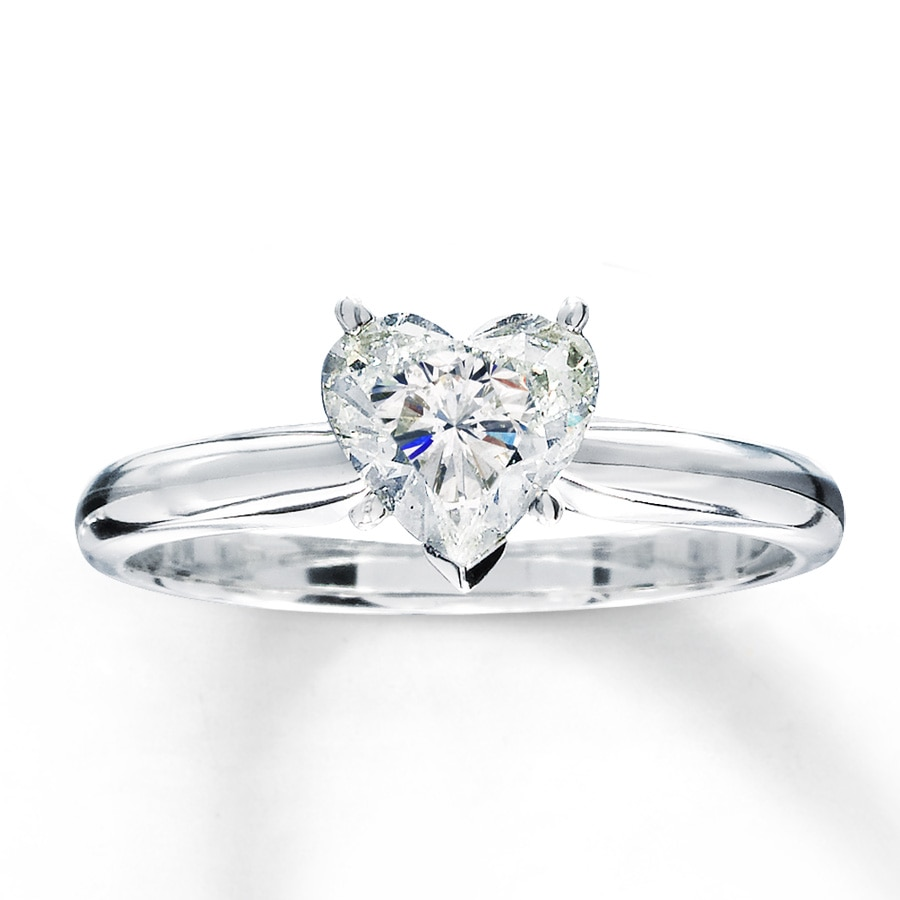 Diamond Solitaire Ring 1 Carat Heart Shaped 14k White Gold